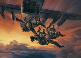A four-man patrol of 22 SAS Regiment perform a HALO freefall insertion
