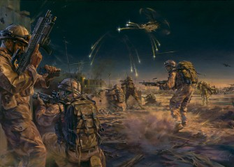 1 Squadron RAF Regiment engage enemy insurgents. Basrah, Iraq 2007.