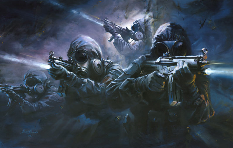 Members of a SAS Counter Terrorism team execute an 'explosive entry'