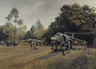 Harrier GR3's of No.1 Squadron in a secluded hide following a field exercise