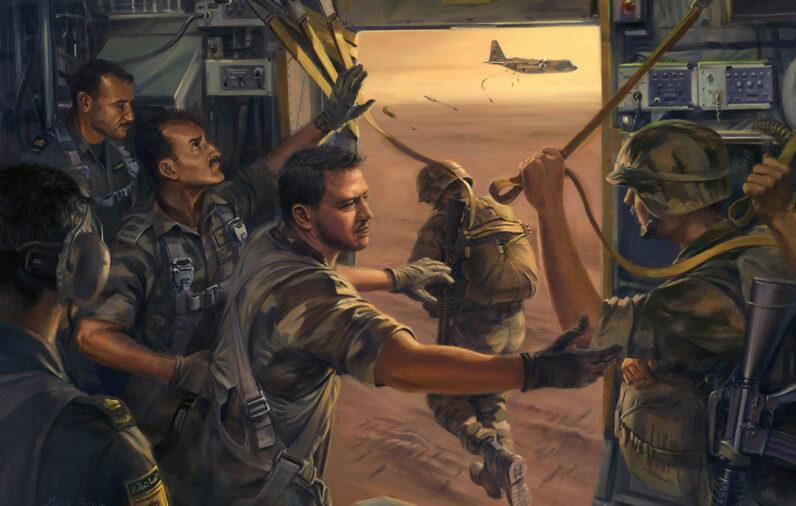 H.M. King Abdullah II of Jordan dispatches paratroops from a C-130 Hercules