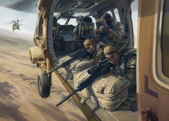 Jordan's 61 SRR Snipers provide air cover from a UH-60L Black Hawk