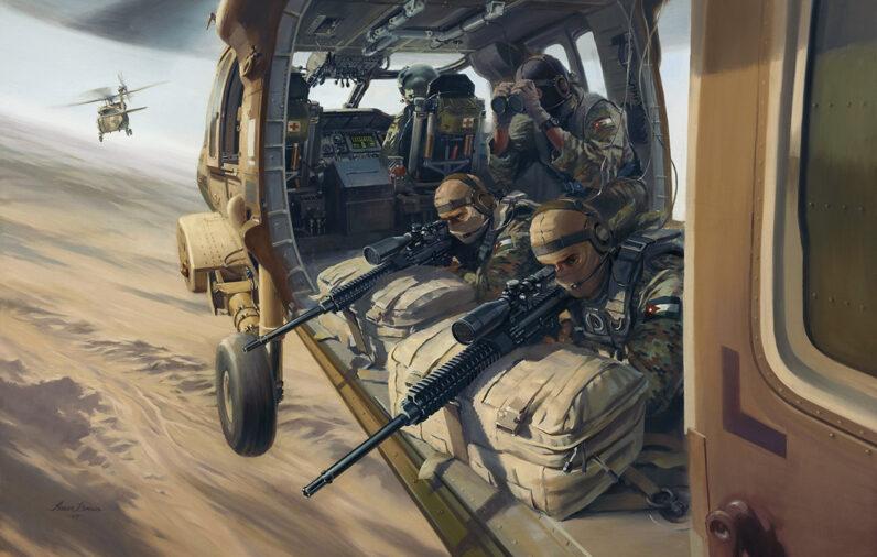 Jordan's 61 SRR Snipers provide air cover from a UH-60L Black Hawk