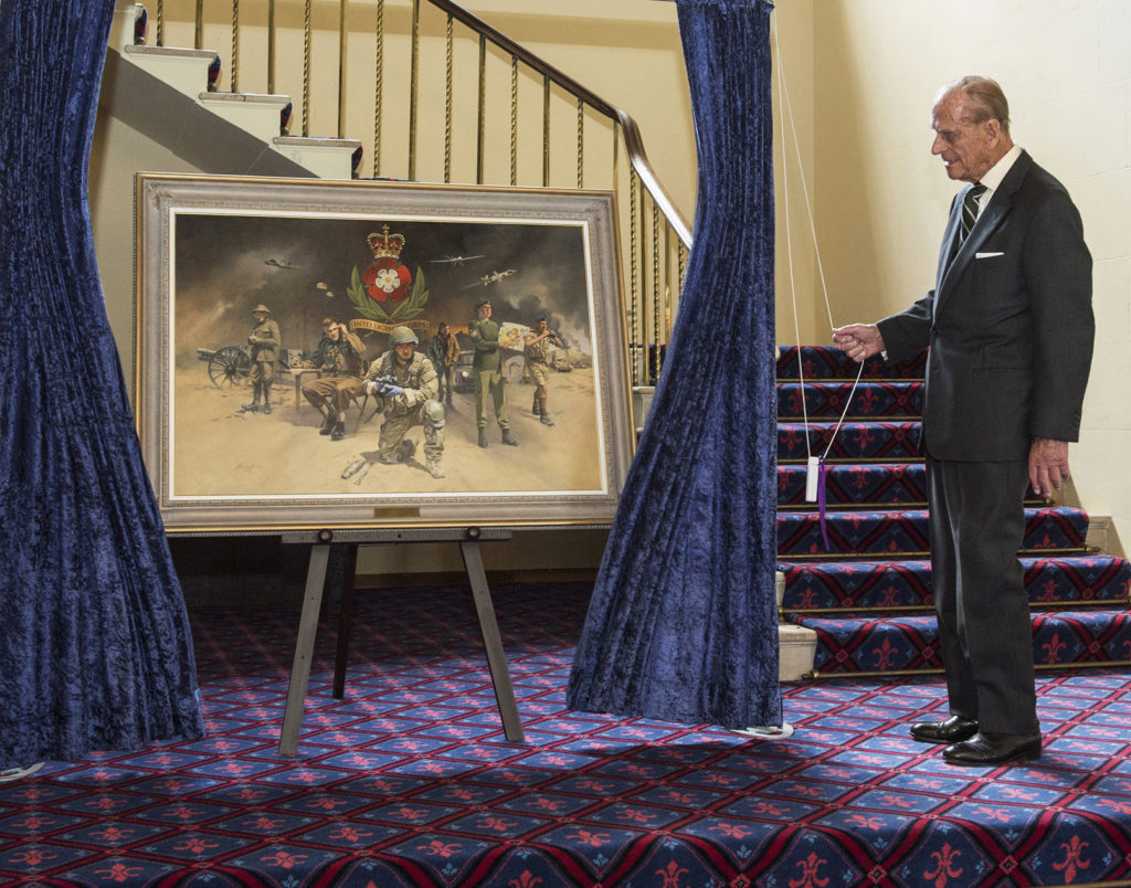 HRH Duke of Edinburgh unveils the painting at the Intelligence Corps HQ, Chicksands.